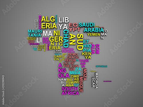 Africa mapa z wszystkie państwami i ich imionami 3d ilustracja na szarość