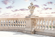 Close Up Of A Marble White Baluster Balcony With Sky
