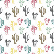 Seamless pattern with cute cactus