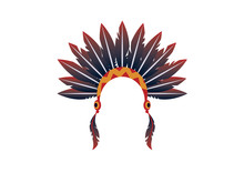 Indian Headband Vector. Symbols Of Indigenous People. Indian Headband Icon. Indian Headdress On A White Background