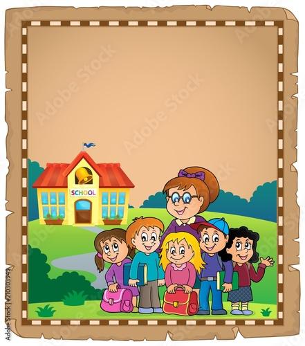 In de dag Voor kinderen School class theme parchment 1