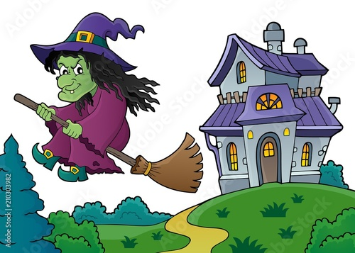 In de dag Voor kinderen Witch on broom theme image 8