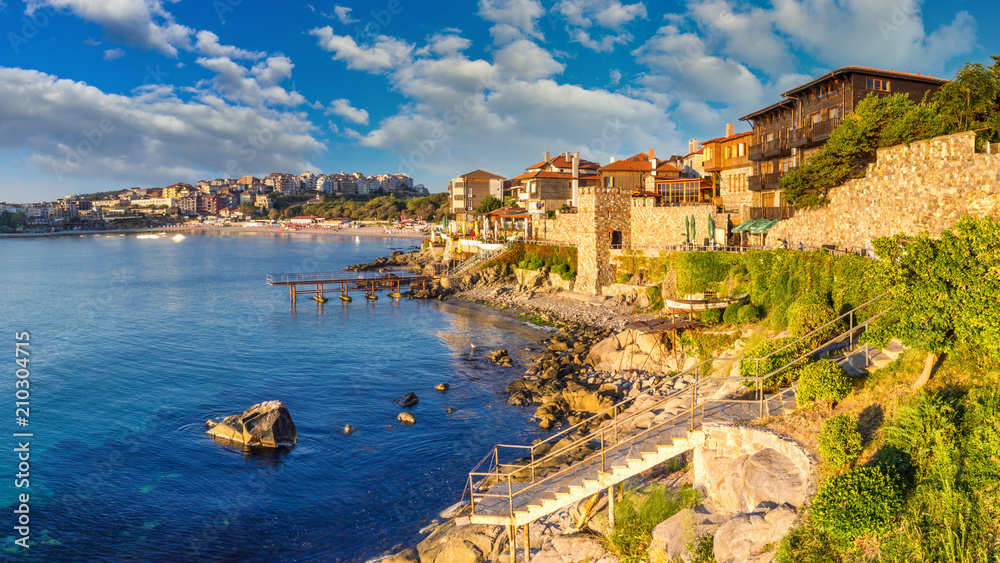 Fototapety, obrazy: Coastal landscape banner, panorama - embankment with fortress wall in the city of Sozopol on the Black Sea coast in Bulgaria