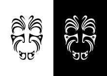 Maori Face Ornament Vector. Symbols Of Indigenous People. Maori Face Tattoo Icon. Black And White Icon Of The Maori Warrior