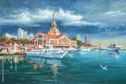 Spokój w porcie morskim Soczi. Malowanie: płótno, olej. Autor: Nikolay Sivenkov.