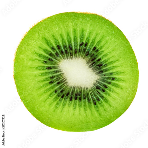 Slice of Kiwi Fruit  isolated on white background, macro. Fresh Kiwi - perfect for product design