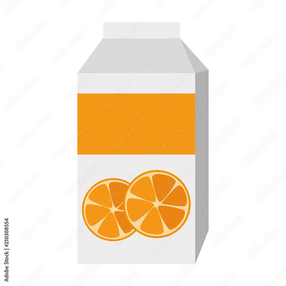 Fototapeta orange juice box packing vector illustration design