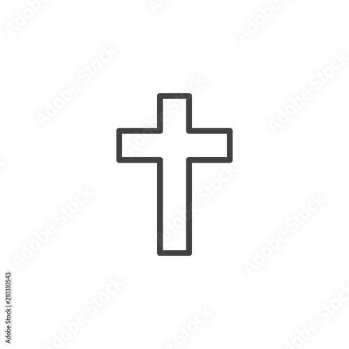 Religion Cross Outline Icon Linear Style Sign For Mobile Concept