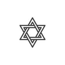 David Star Outline Icon. Linear Style Sign For Mobile Concept And Web Design. Judaism Religion Simple Line Vector Icon. Symbol, Logo Illustration. Pixel Perfect Vector Graphics
