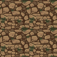 View From Above Seamless Background Texture Brown Stones. Illustration For Ui Game Element