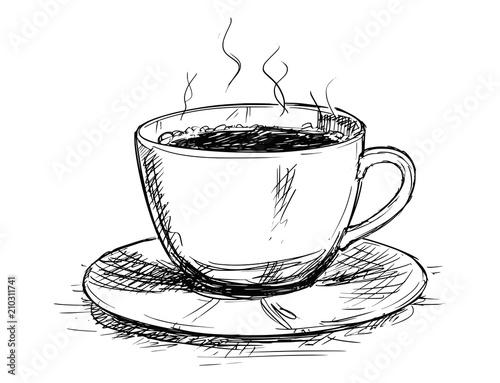 Fototapeta Vector artistic pen and ink sketch drawing illustration of coffee cup or mug. obraz