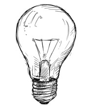 Vector Artistic Pen And Ink Sketch Drawing Illustration Of Light Bulb.