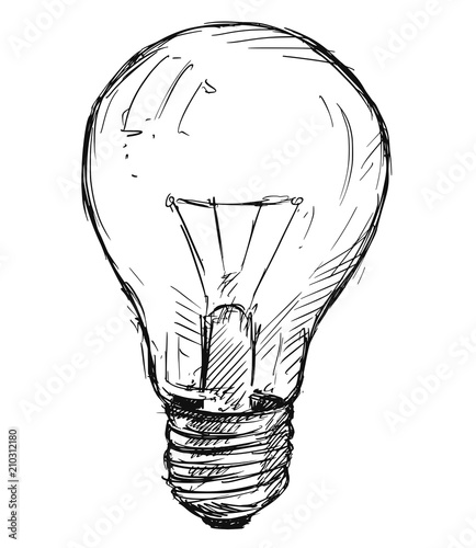 Fototapeta Vector artistic pen and ink sketch drawing illustration of light bulb