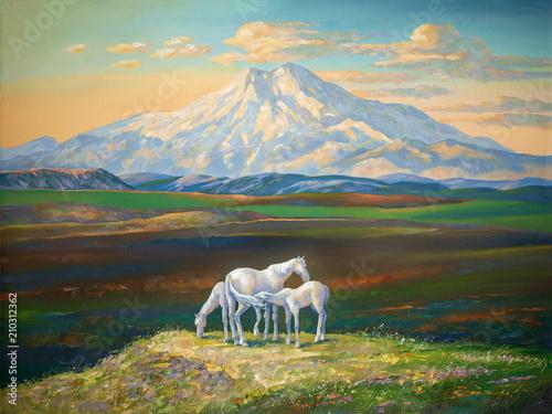 Obraz olejny na płótnie. Konie w tle Elbrusa. Zachód słońca w górach Kaukazu. Autor: Nikolay Sivenkov.