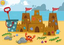 Sand Castle  On The Coast Of The Ocean. Vector Illustration.