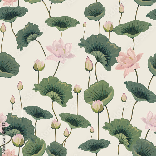 seamless pattern with lotuses Wallpaper Mural