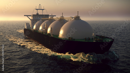 Fotografie, Obraz  Gas tanker floating in the ocean