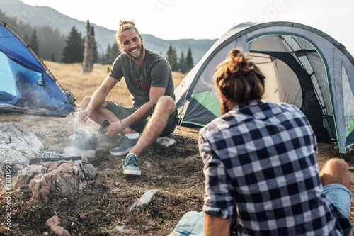 Friends Camping in Mountain