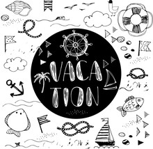 Vacation Doodle Card. Summer Doodles Abstract Background