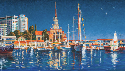 Fototapeta Yachts on the background of the seaport of Sochi on a clear day. Painting: canvas, oil. Author: Nikolay Sivenkov.