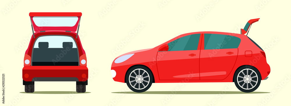 Fototapety, obrazy: Сar with open boot. Side and back view. Vector flat style illustration