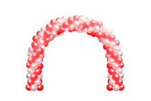 Balloon Archway Door Red And White, Arches Wedding, Balloon Festival Design Decoration Elements With Arch Floral Design Isolated On White Background
