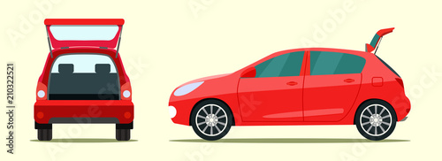 Montage in der Fensternische Cartoon cars Сar with open boot. Side and back view. Vector flat style illustration