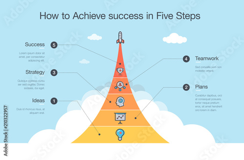 Fotografía Simple Vector infographic for how to achieve success in five steps with space rocket and icons