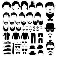 Hipster Style Set With Hair, ...