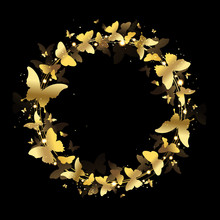 Wreath Of Gold Butterflies