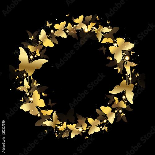 Fototapeta  Wreath of Gold Butterflies