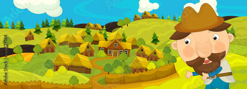 Valokuva cartoon scene with farmer walking near farm village - illustration for children