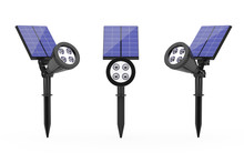 Outdoor Garden LED Spotlight With Solar Panel. 3d Rendering