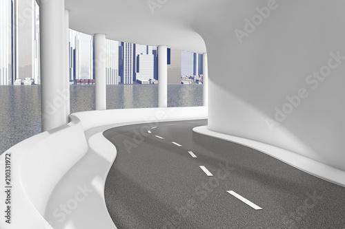 Papiers peints Tunnel Modern Sea Bridge Highway Road closeup. 3d Rendering