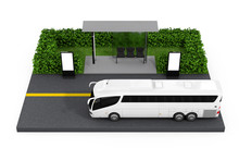 Big White Coach Tour Bus Near Bus Stop Station With Blank Billboards. 3d Rendering