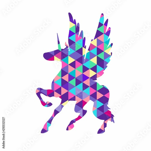 Fotobehang Draw Geometric triangular illustration of unicorn. Colorful magic horse on white background. Unicorn silhouette design. Fairy animal. Cute magic fantasy animal. Dream symbol