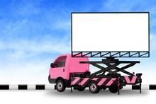 Billboard Blank On Car Pink Truck LED Panel For Sign Advertising Isolated On Background Sky, Large Banner And Billboard Roadside For An Advertisement Large