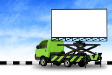 Billboard Blank On Car Green Truck LED Panel For Sign Advertising Isolated On Background Sky, Large Banner And Billboard Roadside For An Advertisement Large