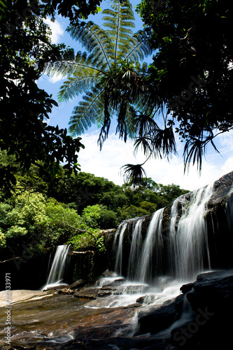 Spoed Foto op Canvas Watervallen 沖縄、西表島の滝