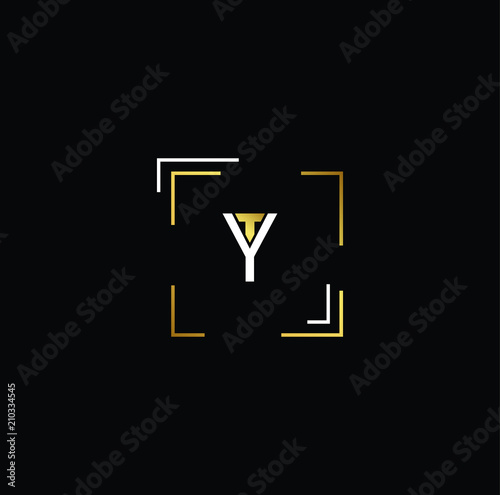 Initial Gold Letter Ty Yt Logo Design With Black Background Vector Ilration Template