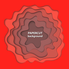 Vector Background With Bright Deep Red Color Paper Cut Shapes. 3D Abstract Paper Art Style, Design Layout For Business Presentations, Flyers, Posters, Prints, Cards, Brochure Cover.