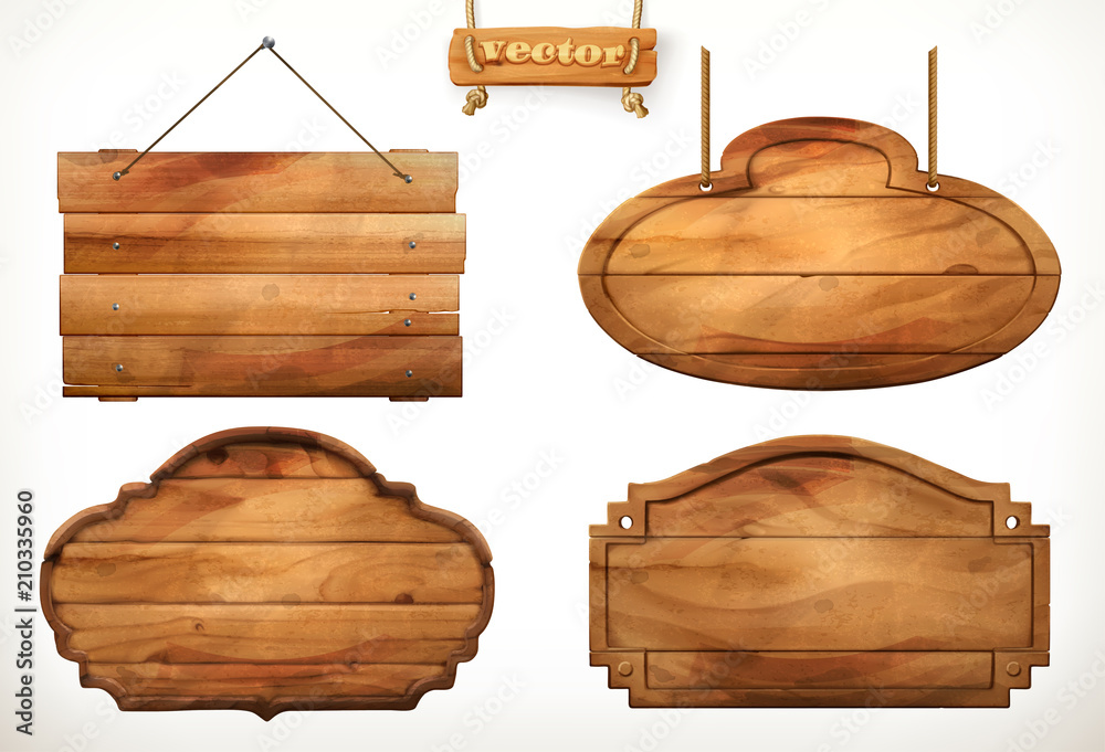 Fototapeta Wooden board, old wood vector set