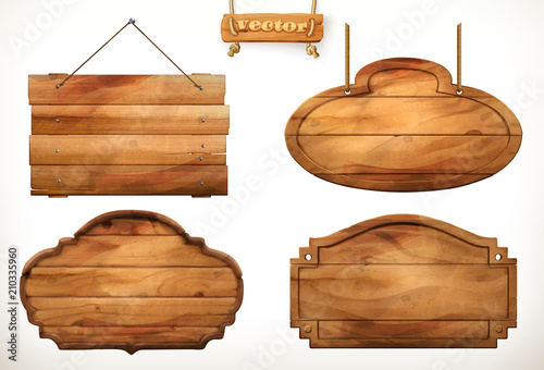 Wooden board, old wood vector set - 210335960