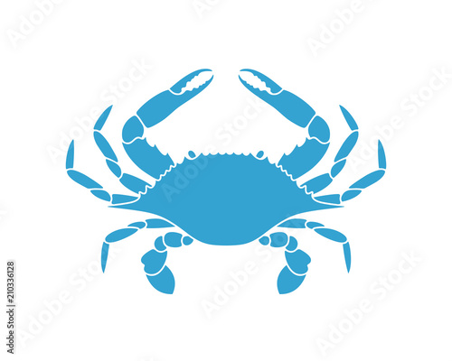 Blue crab. Logo. Isolated crab on white background Wall mural