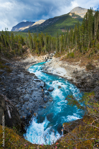 A mountain and river in the Canadian Rockies, British Columbia, Canada