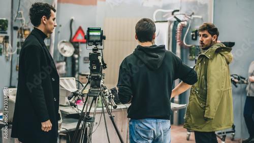 Behind the scene. Film crew filming movie scene in studio Tapéta, Fotótapéta