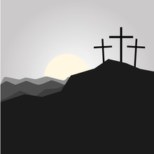 3 Crosses And Sunset