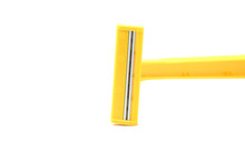 Yellow Shaving Razor Horizontal On White Background