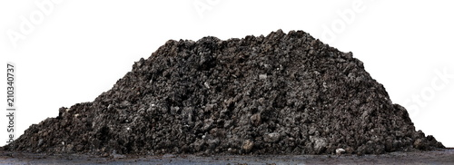 Fotografie, Obraz  A large pile of thick Dark brown black, Wet brown soil mountain shape, Clay pile