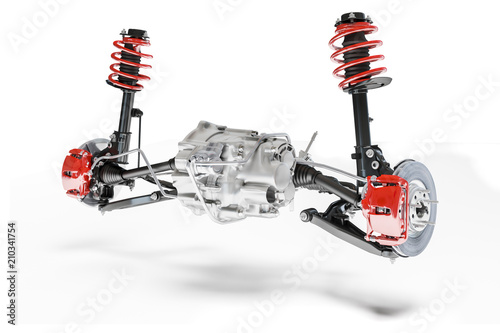 Stampa su Tela 3d car suspension and brake system on white background